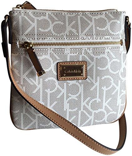 Calvin Klein Logo Monogram Signature Small Crossbody Bag Almond Khaki Camel