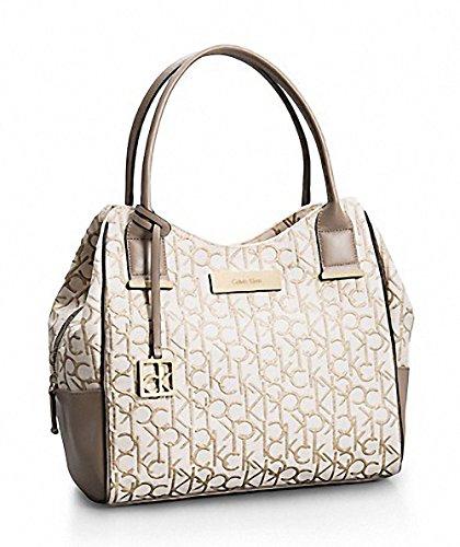 Calvin Klein Candice Logo Jacquard Lurex Center Zip Hobo Handbag Stone Beige
