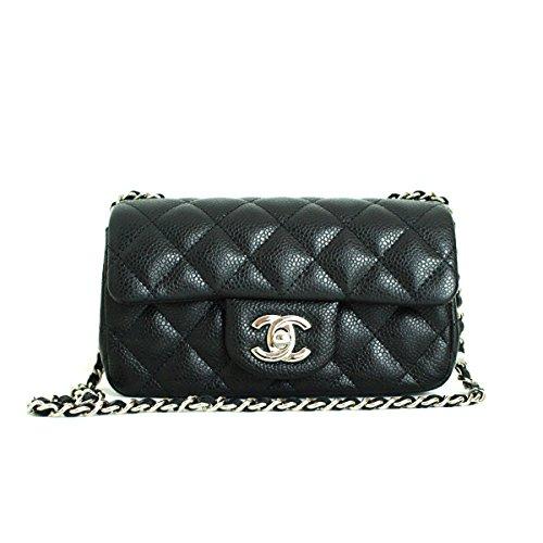 [CHANEL] Quilted Black Caviarskin Classic Mini Matelasse Bag