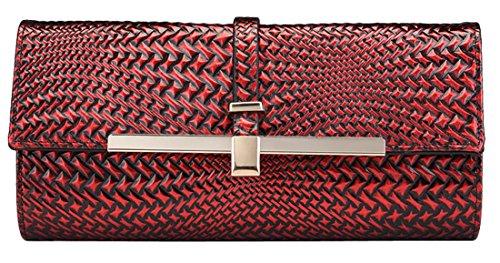 Heshe Fashion Women New Genuine Leather Link-chain Shoulder Handbag Crossbody Evening Party Wedding Dinner Purse Clutch Bag