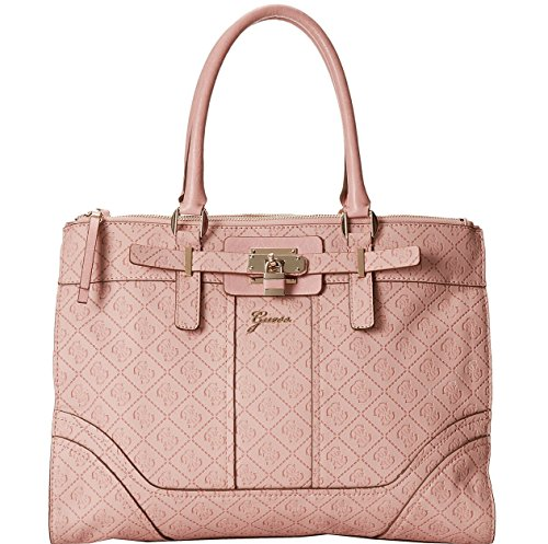 GUESS Women's La Vida Logo Large Satchel Bag Handbag Tote (Light Rose)