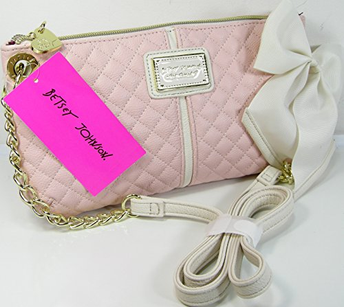 Betsey Johnson Purse Cross Body Bag Quilted Blush Pink Chain Shoulder Strap