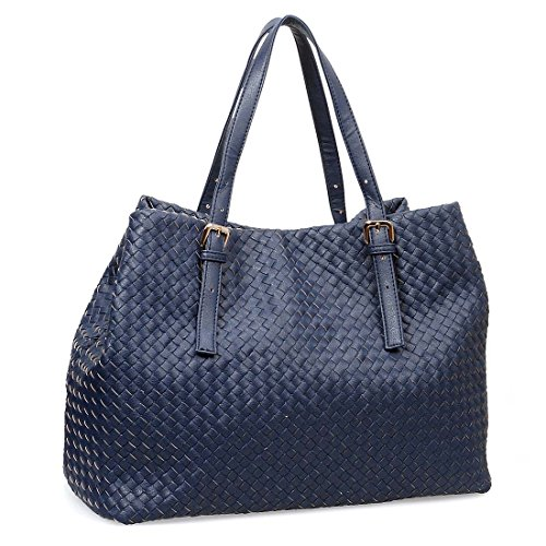BMC Womens PU Leather Woven Pattern Large Top Handle Fashion Tote Handbag