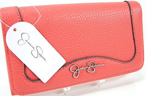 New Jessica Simpson Checkbook Wallet Purse Hand Bag Coral Cayenne Lina Clutch