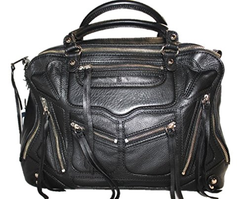 Rebecca Minkoff Jealous Tri Zip Leather Satchel Handbag Bag, Black