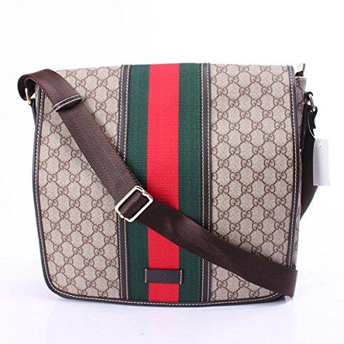 Gucci 201444 Medium Messenger Bag Beige Ebony Chocolate Authentic New