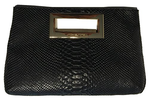Michael Kors Berkley Python Embossed Black Leather Clutch
