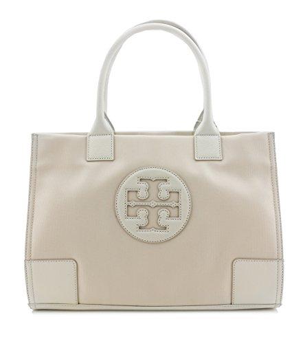 Tory Burch Tote Nylon METALLIC Mini Ella in WHITE TB Logo Handbag