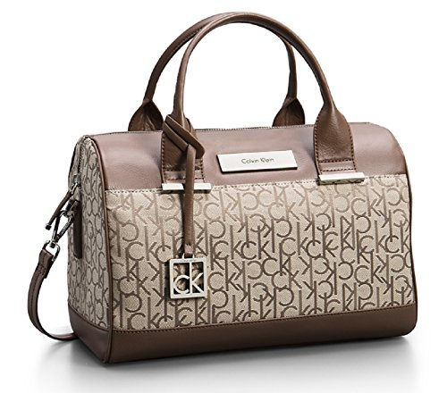 Calvin Klein Logo Jacquard Sleek Barrel Satchel Bag Handbag (Natural/Tan)