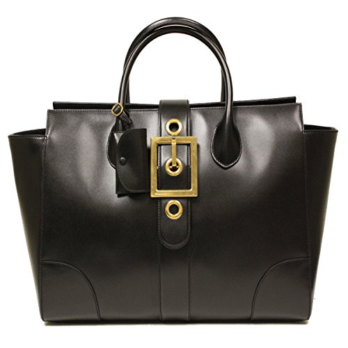 Gucci Lady Buckle Large Black Leather Tote Handbag 323650