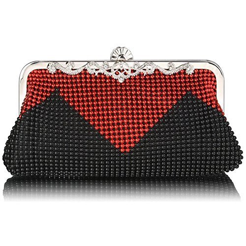 Ladies Black Red Diamantes Crystals Clutch Womens Evening Bag KCMODE