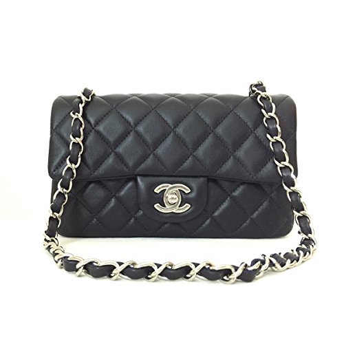 [CHANEL] Quilted Dark Gray Lambskin Leather Classic Mini Flap Bag