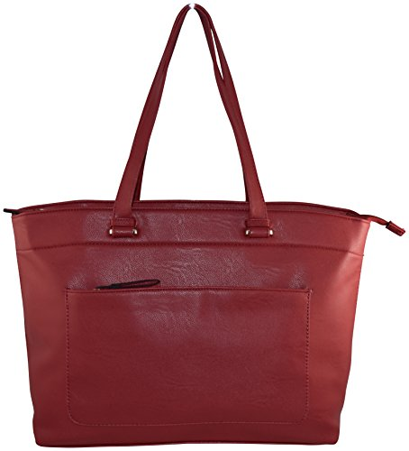 Ultimate Work Tote, Sabine Cowhide PU Leather Business Women's 15″ Laptop Tote Bag – Red
