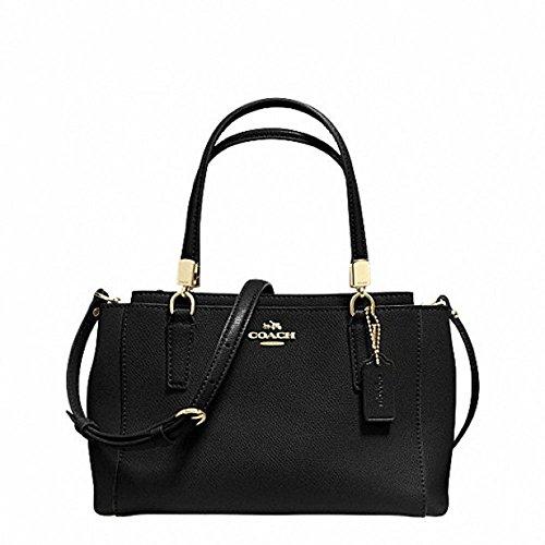 Coach Mini Christie Crossbody in Leather Handbags, Lightgold/black,
