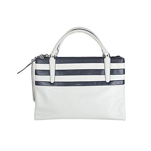 Coach Borough Bag Bar Stripe Leather Satchel 30354 Ivory Multicolor