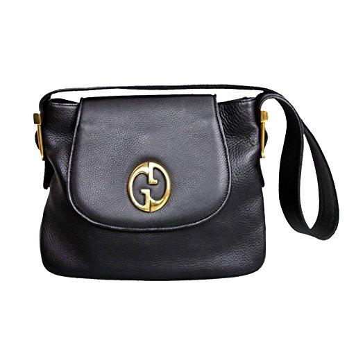 Gucci 1973 Black Tote Leather Shoulder Bag Handbag 251809