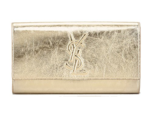 Yves Saint Laurent Ysl Belle De Jour Large Gold Metallic Clutch Bag 361120