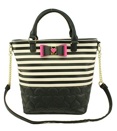 Betsey Johnson Be My Honey Buns N/S Tote Shoulder Bag, Stripe
