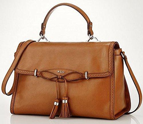 Lauren Ralph Lauren Dundee Tan Leather Convertible Satchel