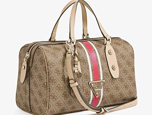 GUESS Logo Sport Box Satchel Bag Handbag Purse, Brown