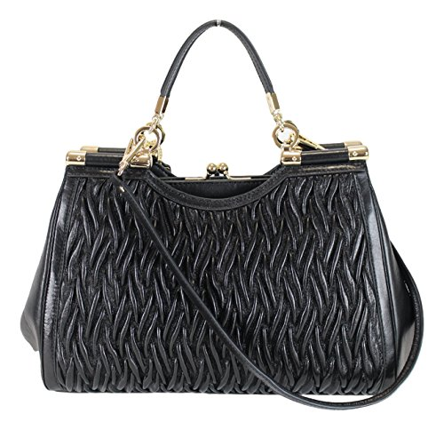 Coach Madison Gathered Twisted Leather Carrie Satchel Purse