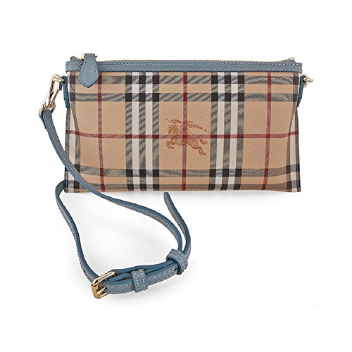 Burberry Woman's Beige Peyton Haymarket Check Clutch Wristlet Handbag