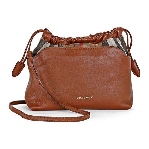 Burberry Womans Little Crush Brown Leather Canvas Check Shoulder Bag Handbag
