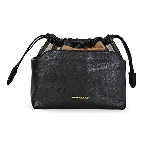Burberry Womans Little Crush Black Leather Canvas Check Shoulder Bag Handbag