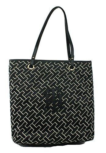 Tommy Hilfiger TH Logo Handbag Tote Black/Tan