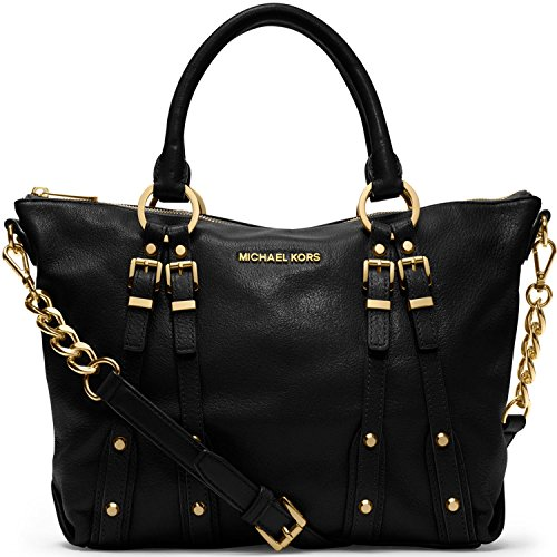 Michael Kors Leigh MD Satchel Black Leather