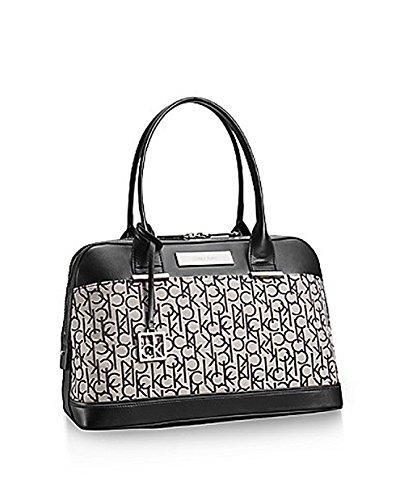 Calvin Klein Logo Jacquard Dome Satchel Handbag Purse Granite
