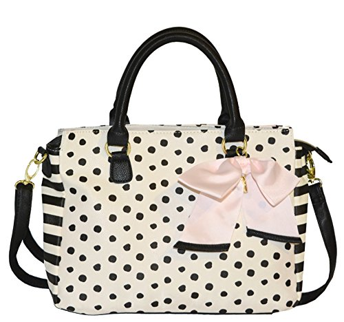 Betsey Johnson Satchel Polka Dot Stripes – Off White and Black with Pink Bow