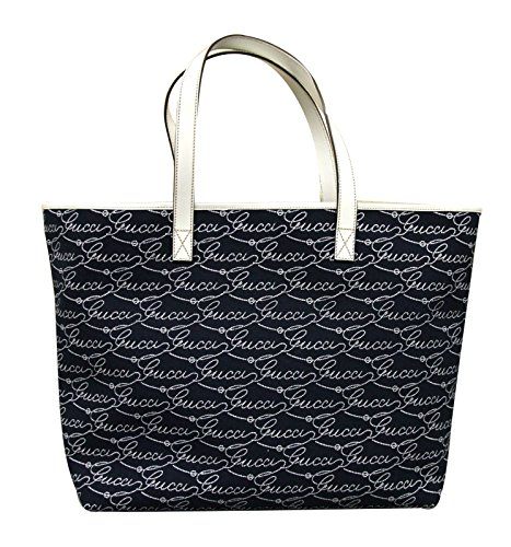 Gucci Navy and White Canvas Tote Bag Leather Large Handbag