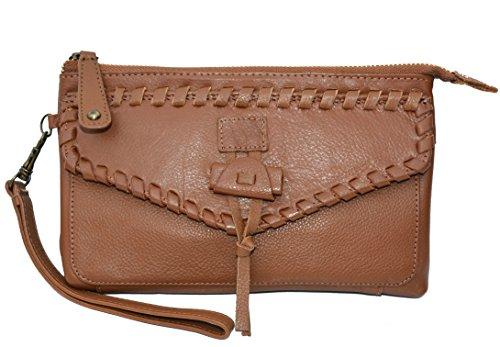 Lucky Brand Chimayo Leather Wristlet Bag Handbag Purse Cognac