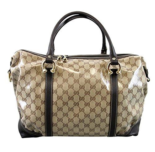 Gucci Crystal Brown Large Boston Handbag Leather Bag 336669
