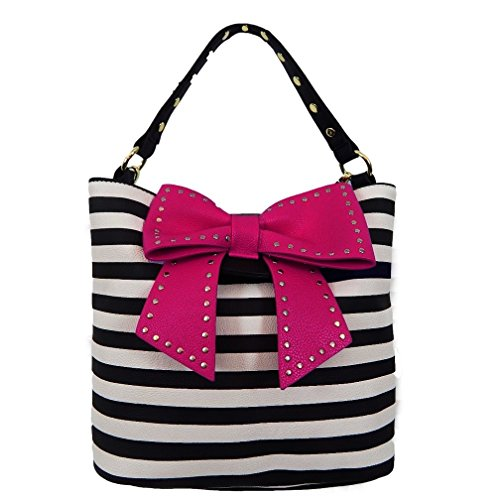 Betsey Johnson Handbag Hopeless Romantic Bucket Tote Stripe