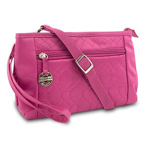 New Travelon Convertible Quilted Crossbody Wristlet & Waist Pouch (Berry)