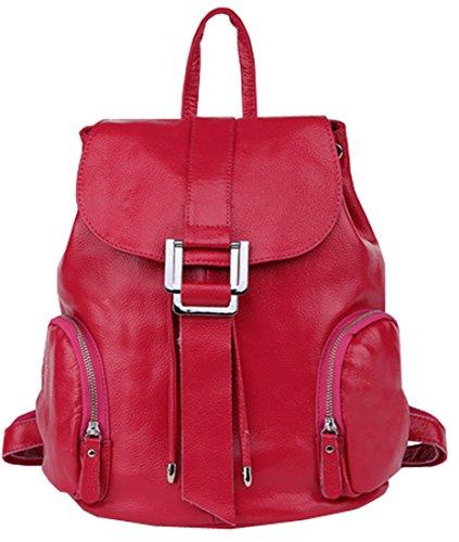 Heshe Genuine Leather New Lady's Casual Fashion Top Handle Tote Bag Backpack School Bag Purse Women's Handbag