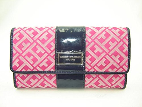 Tommy Hilfiger Women's Signature Checkbook Wallet Pink Navy