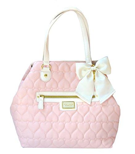 Betsey Johnson Diamond Quilt Convertible Tote Purse Bag Handbag Blush