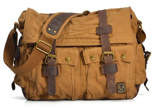 Men Casual Leather Canvas Shoulder Bookbag Hiking Satchel Messenger Handbag Bag