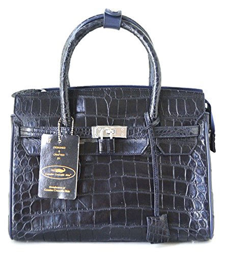 +ThaiPremiumHouse+BELLY SKIN GENUINE CROCODILE LEATHER HANDBAG CLUTCH EVENING BAG PURSE DARK BLUE NEW