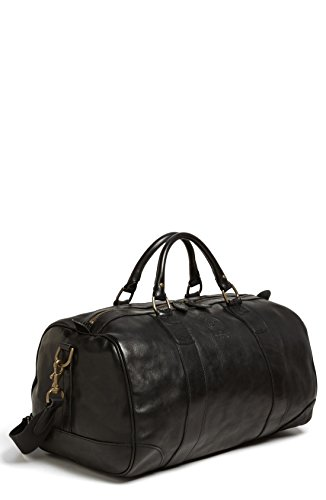 Polo Ralph Lauren Black Leather Tote Carry All Duffel Gym Bag