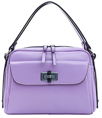 Heshe New Ladies Genuine Leather Casual Twist Lock Purse Tote Hobo Cross Body Shoulder Bag Satchel Hanbag for Women