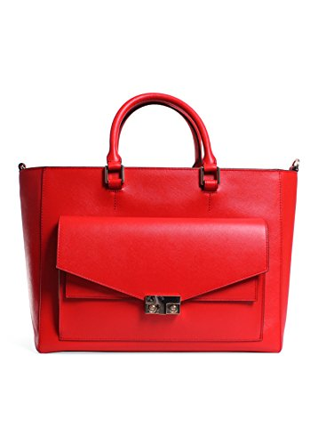 Tory Burch T-Lock East West Tote in Masaai Red