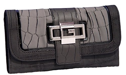 Guess Fate Large Checkbook Wallet Clutch Bag, Black Multi