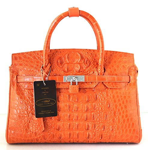 +ThaiPremiumHouse+100% GENUINE CROCODILE LEATHER HANDBAG CLUTCH BAG PURSE LARGE LOCKED SHINY ORANGE NEW