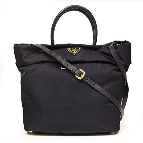 Prada BN2531 Bleu Tessuto Saffian Navy Blue Nylon Leather Shopping Tote Bag
