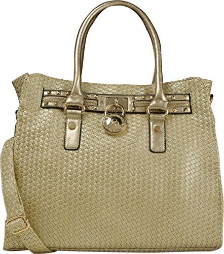 Arcadia Hoppet Pattern Ivory Handbag Woven Design With Round Lock SU6088-IV