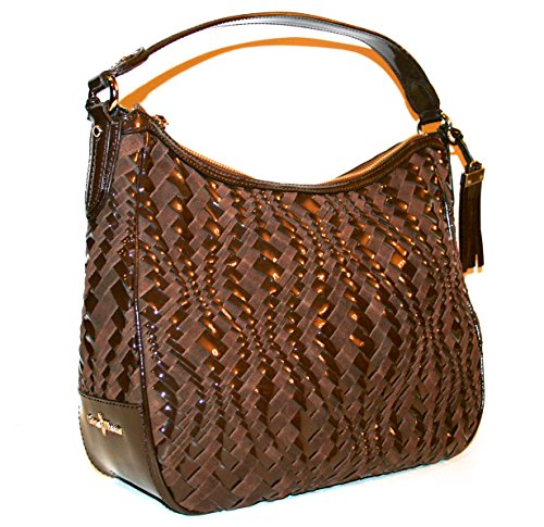 Cole Haan Handbag Brynn Weave II Leather Brown Chestnut Rounded Hobo Bag $298